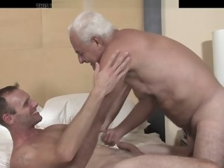 oldy Hung Grandpa Bareback Fucks His Friend bareback