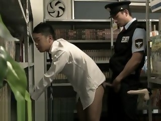 toys Gay Asian Japanese sex in the Library with security,dildo masturbation hunk