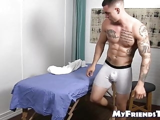 amateur (gay) Handsome tattooed jock feet massaged by hunky gay massage (gay)